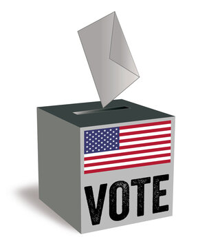 Ballot box or voting box with usa flag and word vote isolated