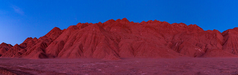 Photo sur Aluminium Bordeaux Eroded landscape in the Desierto del Diablo in the Los Colorados area, in the town of Tolar Grande in the province of Salta in La Puna Argentina. Argentina, South America, America