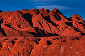 Eroded landscape in the Desierto del Diablo in the Los Colorados area, in the town of Tolar Grande in the province of Salta in La Puna Argentina. Argentina, South America, America
