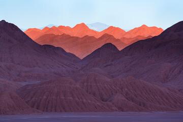 Eroded landscape in the Desierto del Diablo in the Los Colorados area, in the town of Tolar Grande in the province of Salta in La Puna Argentina. Argentina, South America, America