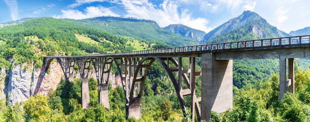 Durdevica Bridge over the Tara river in Montenegro, beautiful panorama