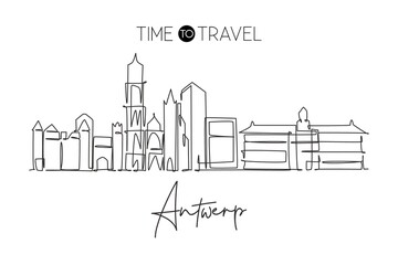 One continuous line drawing of Antwerp city skyline, Belgium. Beautiful skyscraper. World landscape tourism travel vacation wall decor poster print. Stylish single line draw design vector illustration