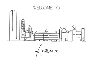Single continuous line drawing of Antwerp city skyline Belgium. Famous skyscraper landscape postcard. World travel home wall decor poster print concept. Modern one line draw design vector illustration