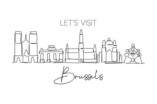 One continuous line drawing of Brussels city skyline, Belgium. Beautiful skyscraper. World landscape tourism travel home wall decor poster print. Editable single line draw design vector illustration