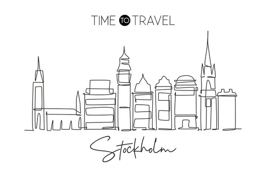 One single line drawing of Stockholm city skyline, Sweden. Historical town landscape in the world. Best holiday destination. Editable stroke trendy art continuous line draw design vector illustration