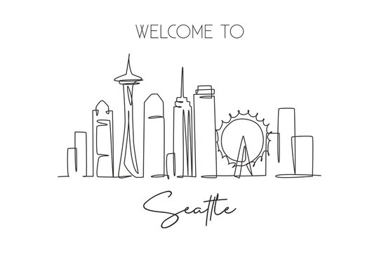 Single continuous line drawing of Seattle city skyline, USA. Famous city scraper and landscape home wall decor poster print art. World travel concept. Modern one line draw design vector illustration