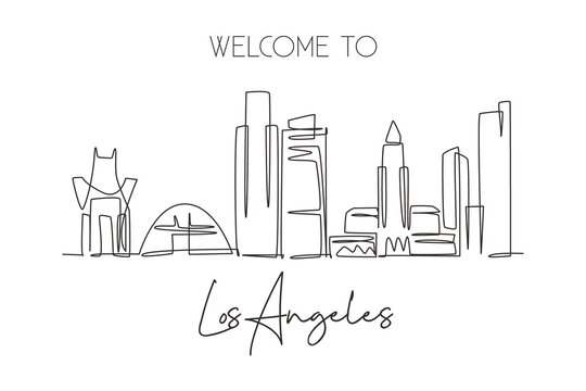 One continuous line drawing of Los Angeles city skyline, United States of America. Beautiful landmark. World travel vacation poster. Editable stylish stroke single line draw design vector illustration