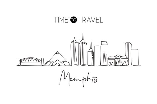 One single line drawing of Memphis city skyline, United States. Historical town landscape in the world. Best holiday destination. Editable stroke trendy continuous line draw design vector illustration