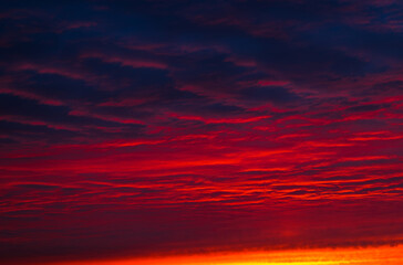 Photo sur Aluminium Bordeaux Red clouds in the sunset sky