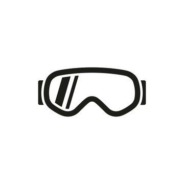 Ski goggles icon design in flat style. Isolated. Vector.