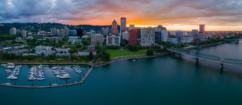 Sunset at Downtown Portland Oregon