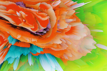 Digital 3D Illustration. Color blot splash. Abstract horizontal background.
