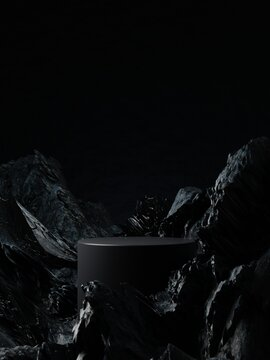 Dark cylinder pedestal for product showcase. Stand product podium mockup. Black color. Rocks and stones on background and foreground. 3d render illustration
