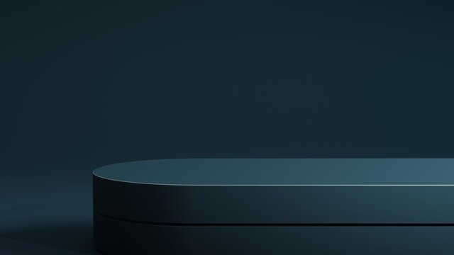 Petrol blue podium on blue background. Minimal cosmetic background for product presentation. 3d rendering