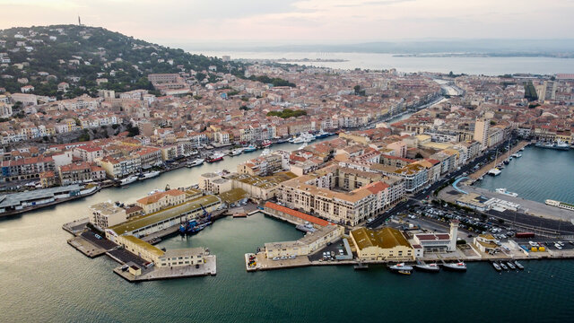 Aerial view of the old town of Sete in the South of France - Downtown island between two canals along the Mediterranean Sea