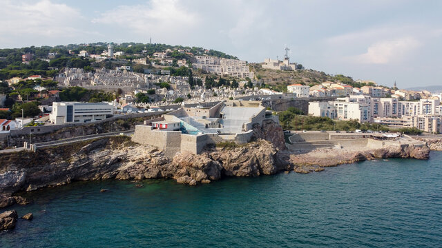 Aerial view of the Theatre of the Sea built on a rocky cliff over the Mediterranean Sea near Sete in the South of France - Ancien fort reused as a seaside cultural venue