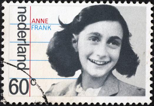 Anne Frank on dutch postage stamp