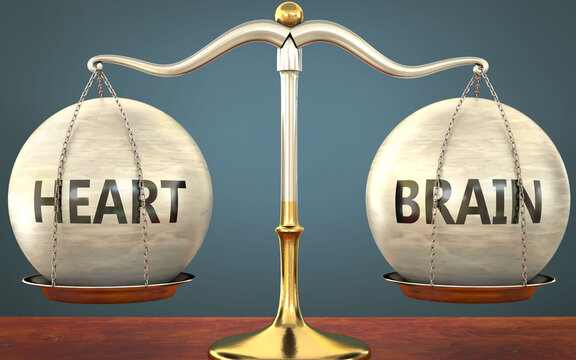 heart and brain staying in balance - pictured as a metal scale with weights and labels heart and brain to symbolize balance and symmetry of those concepts, 3d illustration