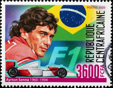 Portrait of Ayrton Senna on african stamp