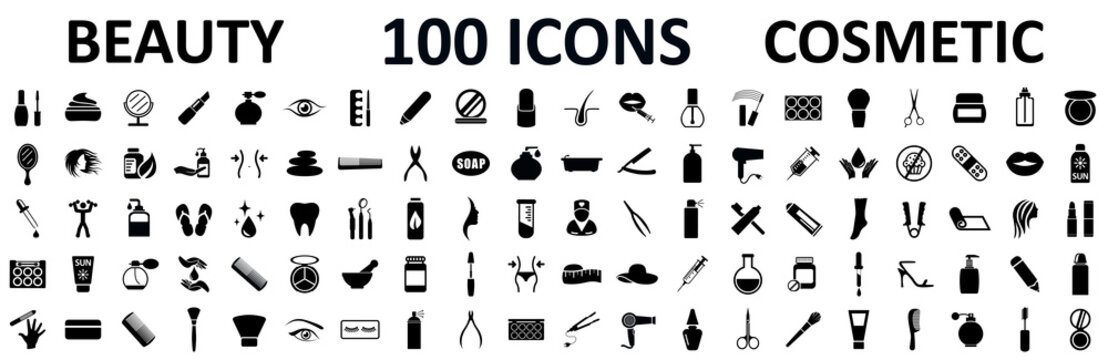 Set 100 beauty spa cosmetology icons with face, eye, legs, cream, oil, moisturizer, make up, nail polish, face cleanser. Beauty and cosmetology collection sign - stock vector