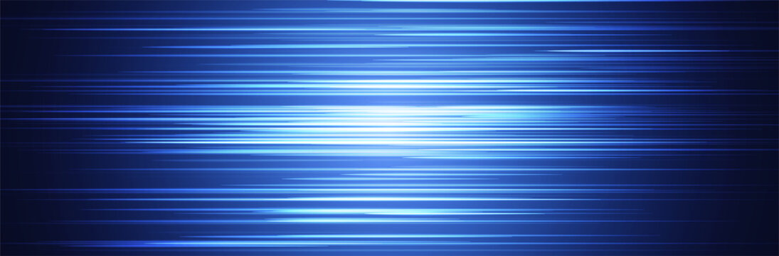 Blue abstract line pattern. Random horizontal stripes. Wide background. Bright center with dark parts around. Information or data transfer concept. Technology vector illustration. Thin lines