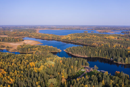 Aerial view of the autumn forest and lakes in Karelia