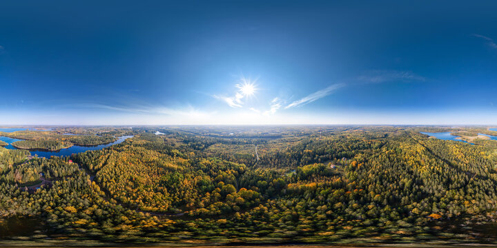 360-degree panoramic aerial view of the autumn forest of Karelia