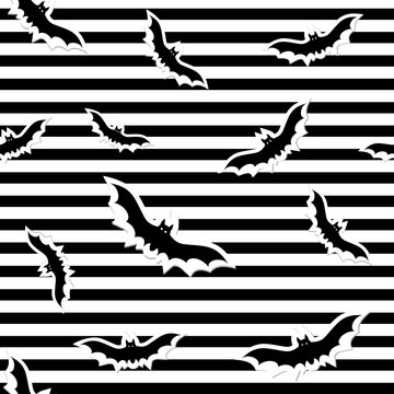 Pattern for Halloween bats on a white background with black stripes, vector illustration in flat style, print, texture, textiles, design, decoration, background, Wallpaper