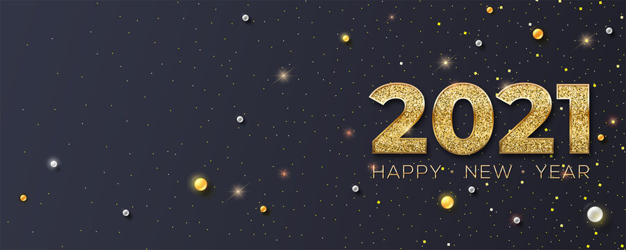 Happy New Year 2021. Glittering golden dust and pearls on black background. New years poster, headers for website. Festive vector 3D illustration.