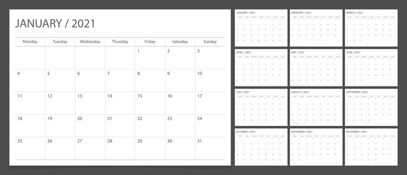Calendar 2021 week start Monday corporate design planner template.