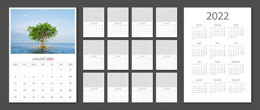 Calendar 2021 week start Monday corporate design template vector.