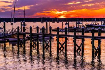 Sunset Pier Padanaram Inner Harbor Boats Dartmouth Massachusetts