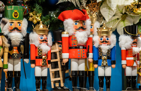 Traditional Christmas souvenir nutcrackers sold on Christmas market
