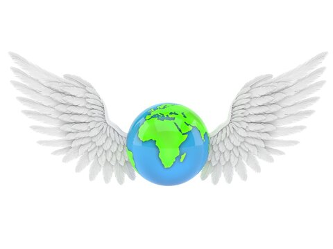 World globe with angel wings