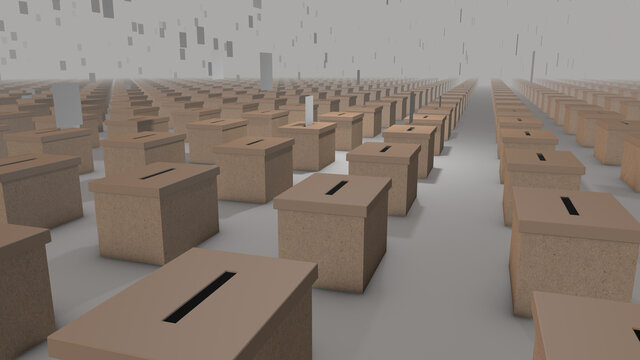 Votes falling into an infinite array of ballot boxes stretching to the horizon - 3d generated illustration
