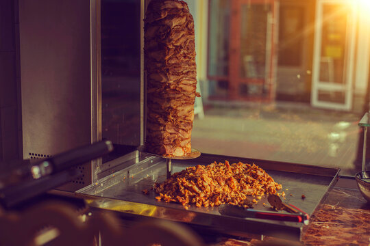 grilled meat for Shawarma on a spit