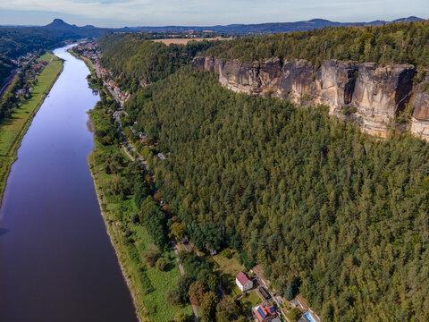Sächsische Schweiz Fluss Bad Schandau Luftaufnahme Drohne Bild 1