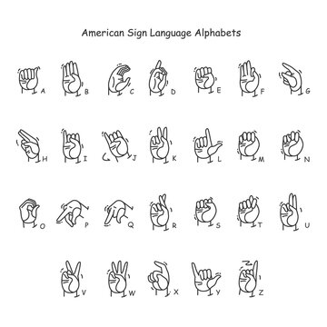 Hand gestures showing A-Z letters line icons set. Fingerspelling American language. Sign alphabet for deaf-mutes. Communication for disabled people. Isolated vector illustration. Editable stroke