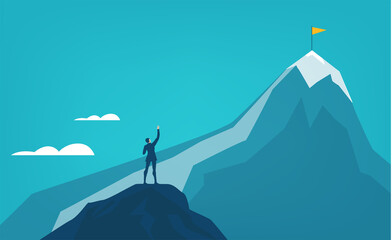 Businessman stands at the edge of cliff in dangers riscky situation. Contemporary management concept, solving problem and achievement. Business concept in flat design style illustration Wall mural