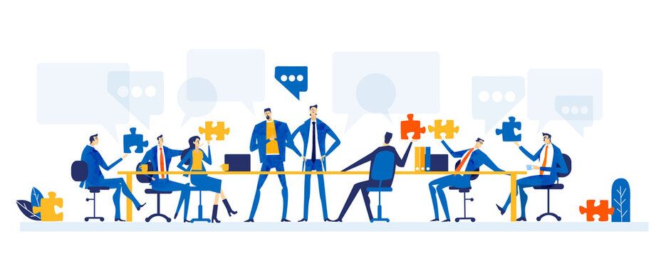Business people forking in office. People sit by desk and communicating online. Generating great new ideas, support, control and delivering the deal. Business concept illustration.