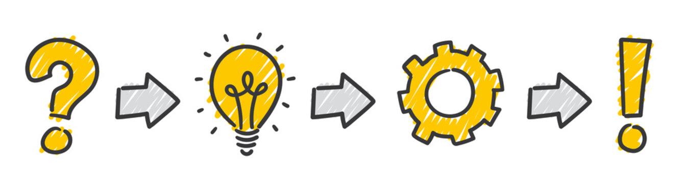 Strichfiguren: Scribble, Icon, Success, Bulb, Question, Answer, Arrows