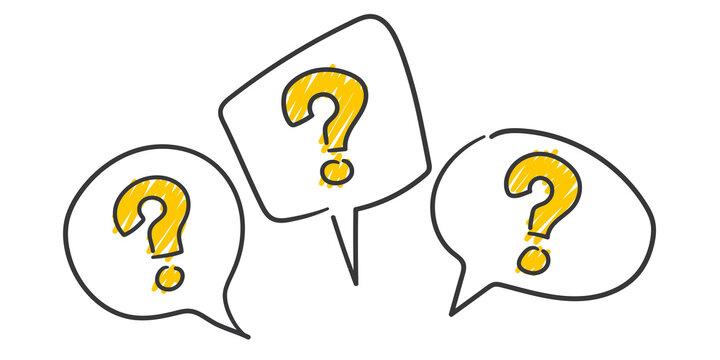 Strichfiguren: question marks, speech bubbles