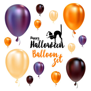 Set of halloween balloons and halloween logo with cat in hat.