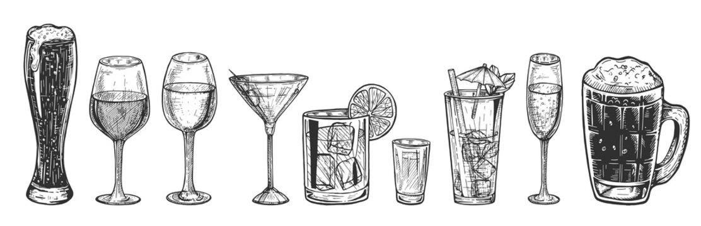 alcohol glasses types set