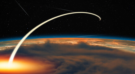 Wall Mural - Long exposure night time rocket launch, falling stars in the background - Planet Earth with a spectacular sunset -