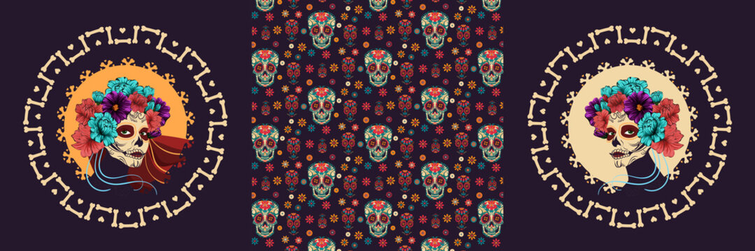 Dia de Los Muertos. vector poster for the Day of the dead. image of a woman with sugar skull makeup, surrounded by bones and flowers