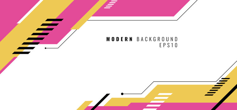 Banner web design template pink and yellow geometric design on white background