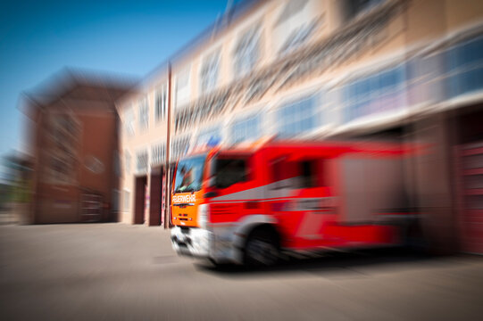 Fire truck leaving the station responding to an alarm