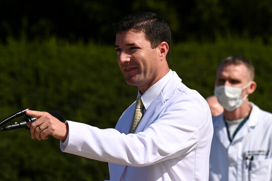 U.S. Navy Commander Dr. Sean Conley, the White House physician, speaks about U.S. President Donald Trump's health, in Bethesda