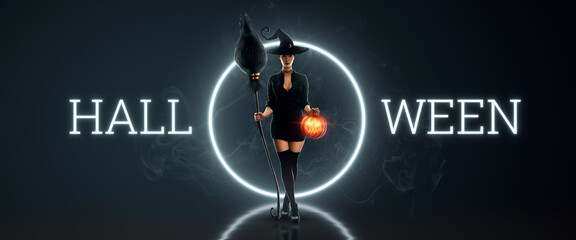 Creative halloween flyer. Girl witch with a broom in her hands and a witch hat. Halloween concept,...